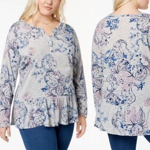 NWT Style & Co Gray Peplum Floral Blouse Size 3X